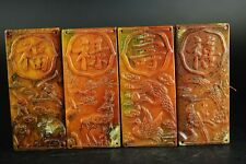 A set Chinese Old Jade hand-carved bats&deer&crane&Magpie pendants A10