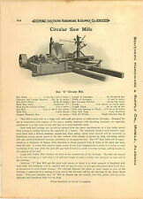 "1910 PAPER AD Circular Saw Mill Timber Lumber Mills Size S 54"" Blade 24' Long"