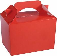 10 Red Kids Party Lunch Boxes Takeaway Christmas Birthday Cake Food Bags Favours