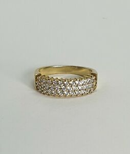Genuine 14ct Solid CZ ring in Yellow gold
