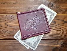 Handmade Real Leather Unisex Money Clip Slim Card Sleeve Business Gift Brown