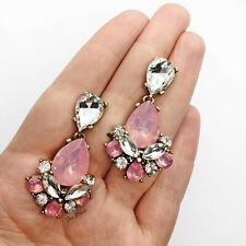 Pink/ Silver Dangle Statement Rhinestone Earrings UK Blogger Wedding Event TOWIE