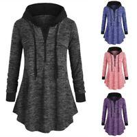 Sweatshirt Zip Hoodie Women's Up Jumper Plus Jacket Tops Size Hooded Drawstring