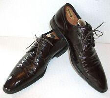 Hugo Boss Designer 7.5 Brown Patent Leather Snakeskin Crocodile Suit Derby Shoes