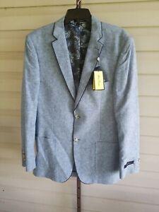 Alan Flusser Denim Blue Linen Blend Modern Fit Sportcoat Jacket NWT$150