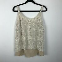 CAbi It Girl Lace Cami Tank Top Ivory Beige Lined Adjustable Straps Size M #798
