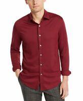 Tasso Elba Mens Shirt Burgundy Red Size XL Button Down Knit Seamed $65 #190