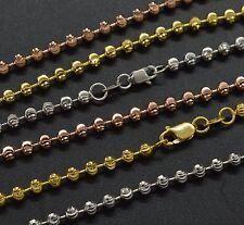 "14k Solid Yellow White Rose Gold 3mm Half Moon Diamond Cut Ball Chain-18"" 24"""