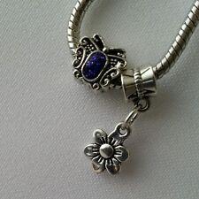 Silver Flower Butterfly Dangle Czech Charm Gift Fit European Style Bracelet 2pcs