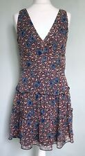 ANNA SUI 100% Silk Blue Red Heart Print Floaty Dress Sz 10 Tiered Flared Lined