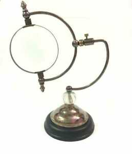 Antique Brass Compaq Magnifying Glass Vintage Nautical Table Decor Magnifier