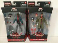 """2X Marvel Legends 2020 Spider-Verse SPIDER-MAN + MILES MORALES Stilt-Man BAF 6"""""""