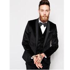 Black Velvet 3 Pc Shawl Lapel Groom's Lapel Men's Wedding Suit Slim Fit Custom