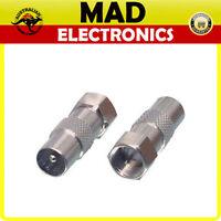 F Type Male Plug to PAL Male Plug Digital TV Antenna Aerial Coax Adapter