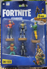 Fortnite Stampers Random Blister Pack of 5 Figurines w/ Ink Pad Base & Stamp