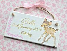 Inspired Disney Bambi Baby Girl Birth Plaque Sign Keepsake Christening Gift ⭐