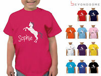 PERSONALISED CHILDRENS BOW PRINT HORSE RIDING T-SHIRT GIRLS PONY TSHIRT KIDS TOP