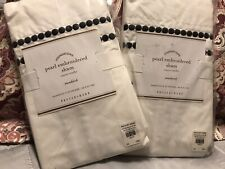 Two Pottery Barn Pearl Embroidered Organic Cotton Pillow Shams -Black -New $99