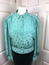 "Green Shiny Vintage 80s Blouse Size 18 50"" Chest Secretary Mistress CD TV"