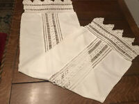 "Vintage Lace Table Runner-Dresser Scarf Hand Crochet Rectangle Doily 15x50""(L3)"