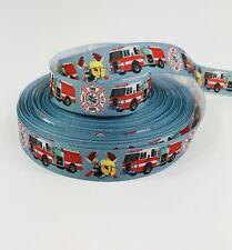 "BTY 7/8"" Boys Firefighters Fire Engine Grosgrain Ribbon Hair Bows Lisa"