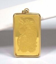 1oz Gold PAMP Suisse Bar in 18k Frame Pendant