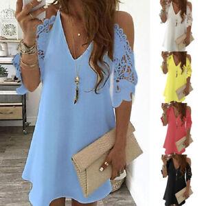 Summer Women Mini Dress V Neck Off Shoulder Street Beach Short Lace Sleeve Dress