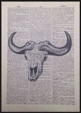 Buffalo Skull Print Vintage Dictionary Wall Art Picture Animal Head Skeleton