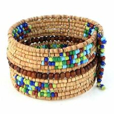Bracelet Wide Cuff Wood & Seed Beads Hand Beaded Memory Wire Fashion Jewelry