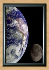 Earth & Moon From Space Wall Home Decor Photo Poster Picture Print A4 297x210mm