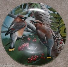 "Knowles China 1987 8.5"" Dia. Plate The Cedar Waxwing By K. Daniel W/ Box & Coa"
