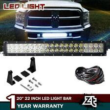 """Fit Dodge Ram 1500 2500 3500 Lower Grille Bumper 20/22"""" LED Light Bar+4"""" Pods"""