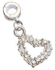Clear Rhinestone Heart April Birthstone Dangle Bead for European Charm Bracelets