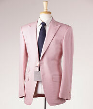 NWT $5800 TOM FORD Pink Woven  Herringbone Wool-Linen Suit 38 R + Hanger (Eu 48)