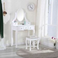 White Dressing Table Makeup Desk with Stool, 5 Drawers and Oval Mirror Bedroom