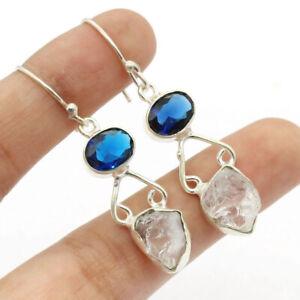 """Herkimer Diamond 925 Silver Plated Handmade Gemstone Earrings 1.7"""" Ethnic Gift"""