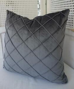 45CM X 45CM Charcoal Grey Softest Velvet Diamond Pleated Cushion Cover