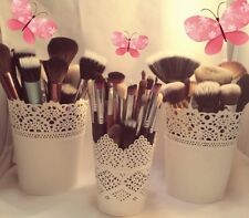SET OF 3 Make Up Brush Holder Pots White 2 X Large 1 X Small UK SELLER