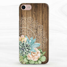 Succulent Wood Mandala Case Cover For iPhone 6S 7 8 Xs XR 11 Pro Plus Max SE
