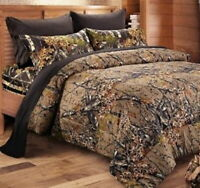 7pc Queen WOODLAND BROWN CAMO COMFORTER / Black SHEET SET : BED BAG WOODS HUNT