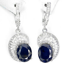 GENUINE OVAL 10x8mm. BLUE SAPPHIRE DIFFUSION& W. CZ STERLING 925 SILVER EARRINGS