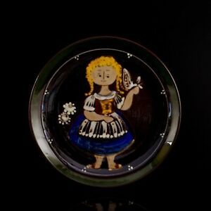 Glazed Terracotta Hand Painted Signed Luijie Girl with Dove Wall Plaque Plate