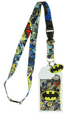 Batman Lanyard Keychain with ID Holder and Rubber Charm