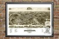 Old Map of Staunton, VA from 1891 - Vintage Virginia Art, Historic Decor