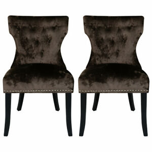 2x Dining Chairs Brown Crushed Velvet Padded Seat Kitchen Living Room Fruniture