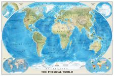 National Geographic World Physical Map Poster Print, 24x36 World Map