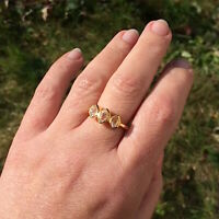 Rough Herkimer Diamond Ring Gold Herkimer Rings Raw Crystal Handmade Jewellery
