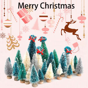 22X Mini Cedar Trees Set Sisal Snow Frost Trees With Wood Base Bottle Brushes
