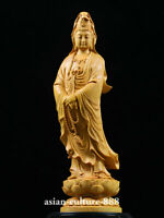 "5"" Chinese natural Wood Carving Boxwood Guan Yin Kwan-yin Goddess Buddha Statue"
