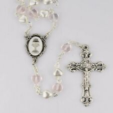 PINK CRYSTAL AND PEARL HEART ROSARY